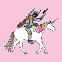 Boba fett riding a Unicorn, 8x8 print