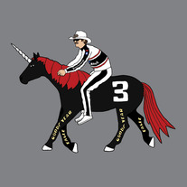 Dale Earnhardt riding modified unicorn, 8x8 print