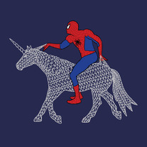 Spiderman riding web unicorn, 8x8 print