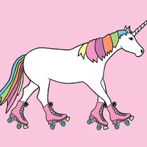 Unicorn on roller skates, 5x7 print