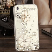 New Bling Crystal Sparkle White Flowers Pearls Rhinestones iPhone 4/4S Case
