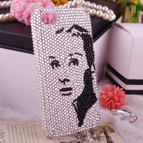 New Bling Crystal Sparkle Audrey Hepburn Fashion Icon iPhone 4/4S Case