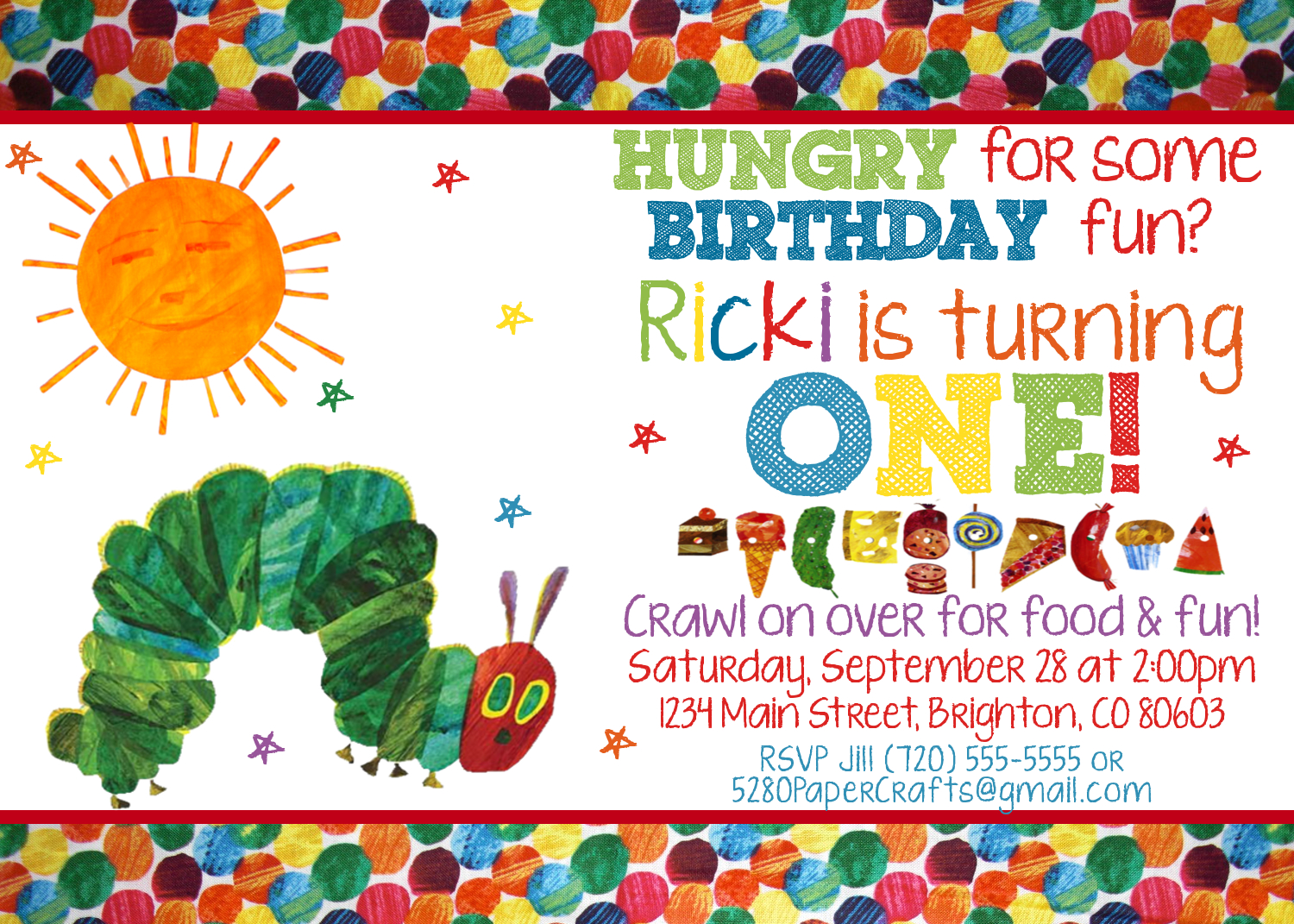Very Hungry Caterpillar Custom Invitation With Photo, YOU Print ...