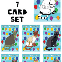 Cats Dressed as Star Wars Happy Birthday 7 card set