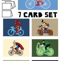Comics on bikes blank (no text) 7 card set #1