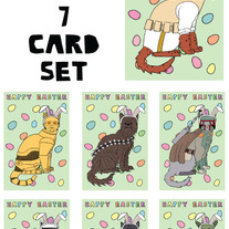Cat dressed as Star Wars Easter 7 card set