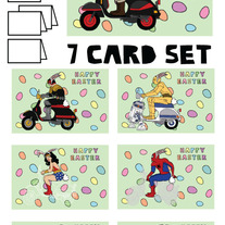 On Vespa Easter 7 card set