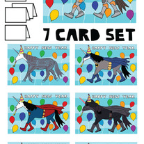 Unicorns New Year 7 card set