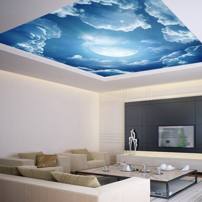 Ceiling sticker mural leaves trees spring forest airly air for Blue moon mural