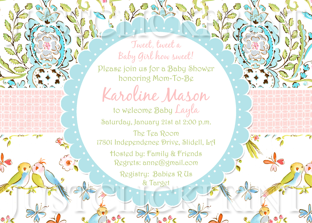 Tweet Little Love Birds Baby Shower Invitation Printable · Just ...