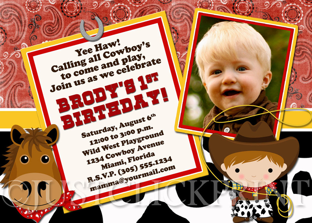 Country Western Little Cowboy Birthday Photo Invitation Printable