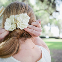Cream Silk Flower Duo - Bridal/Wedding Hairpins