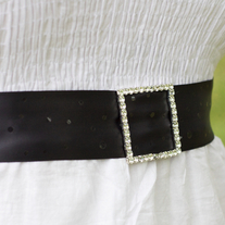 Bridal Sash with Rhinestone Buckle  - Thumbnail 2