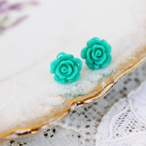 Full Bloom Rosebud Studs - 5 Color Choices