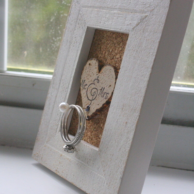 Wedding ring holder frame - rustic - shabby chic - unique gift