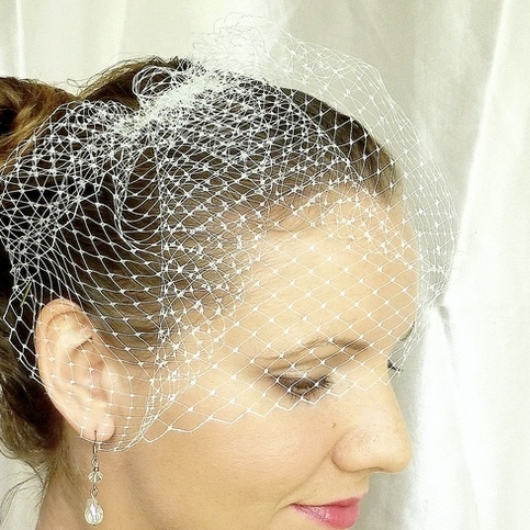 Ivory Birdcage Veil made from 8 inch French Netting