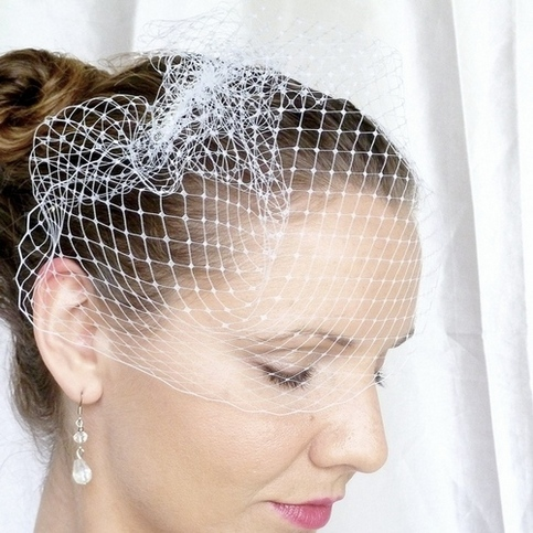 White Birdcage Veil 9 inches