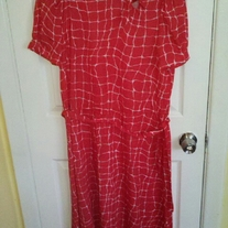 Darian Red and White Patterned Dress Sz 12