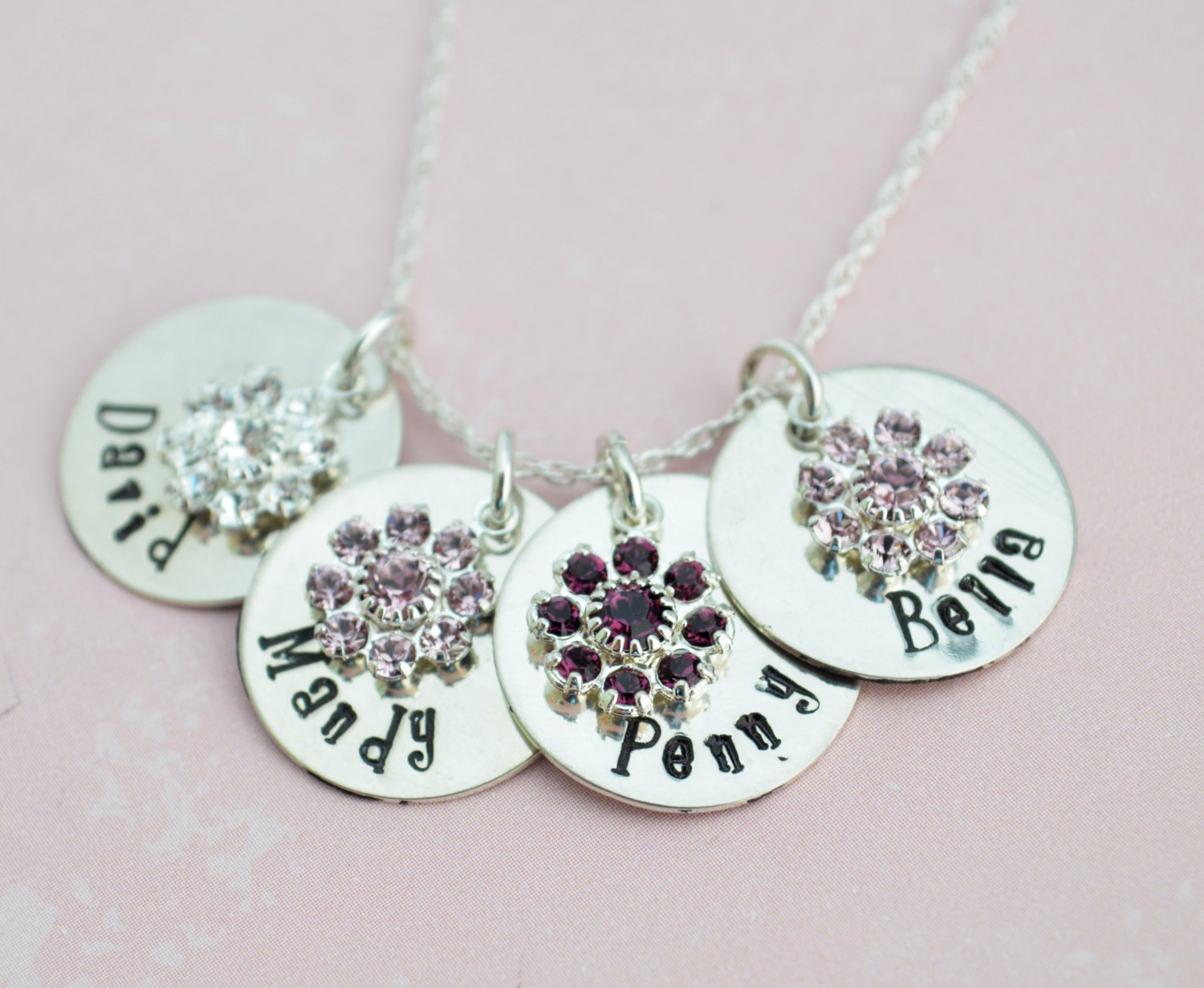Personalized mom necklace family personalized flower birthstone personalized mom necklace family personalized flower birthstone necklacehand stamped mothers day mom aloadofball Images