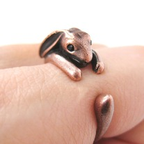 Bunny Rabbit Animal Wrap Around Hug Ring in Copper - Sizes 4 to 9