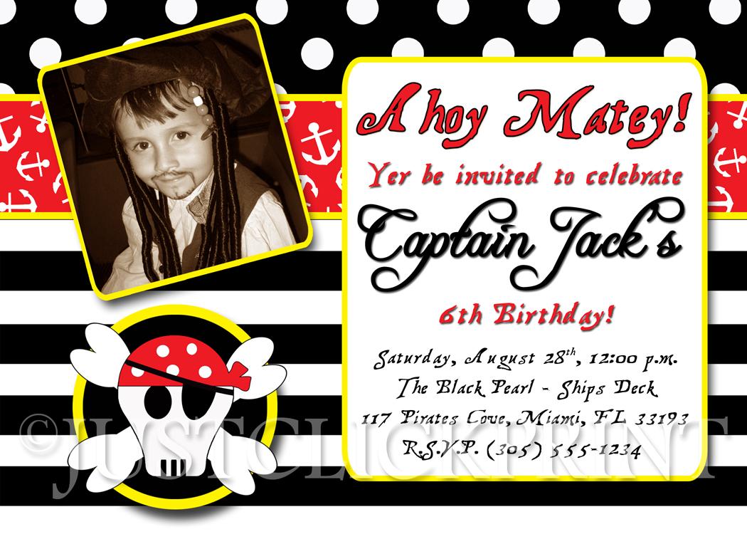 Pirate Birthday Party Photo Invitation Printable Just Click – Pirate Birthday Invitations Wording