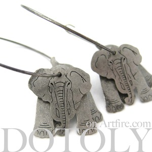 3D Elephant Animal Hoop Dangle Earrings in Silver