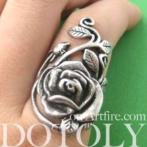 Simple Rose Floral Wrap Ring in Silver - Sizes 5 to 6.5 Available