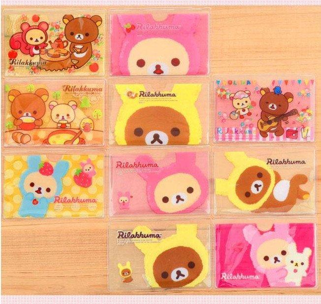 3pcs Rilakkuma Kawaii Card Holders Pvc Super Cute Uber Tiny