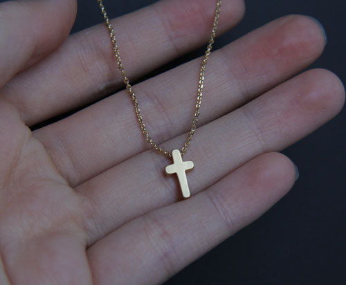 Small gold cross pendant necklace minimalist gold necklace small gold cross pendant necklace minimalist gold necklace everyday jewelry wedding jewelry aloadofball Images