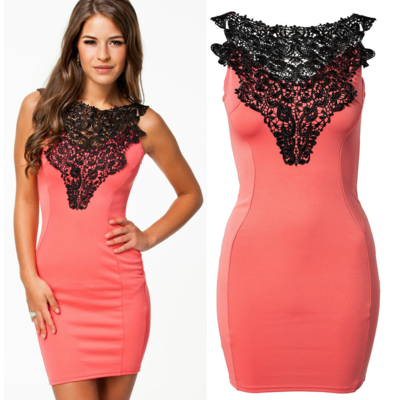 Elegant embroidered bodycon dress