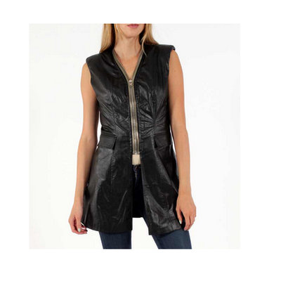 Padded faux leather vest