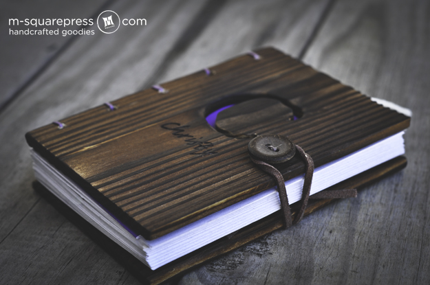 Wood Cover Cookbook ~ Personalized pine wood travel journal · m square press