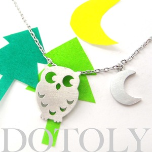 Owl Bird Feather Moon Crescent Animal Necklace In Silver Allergy Free