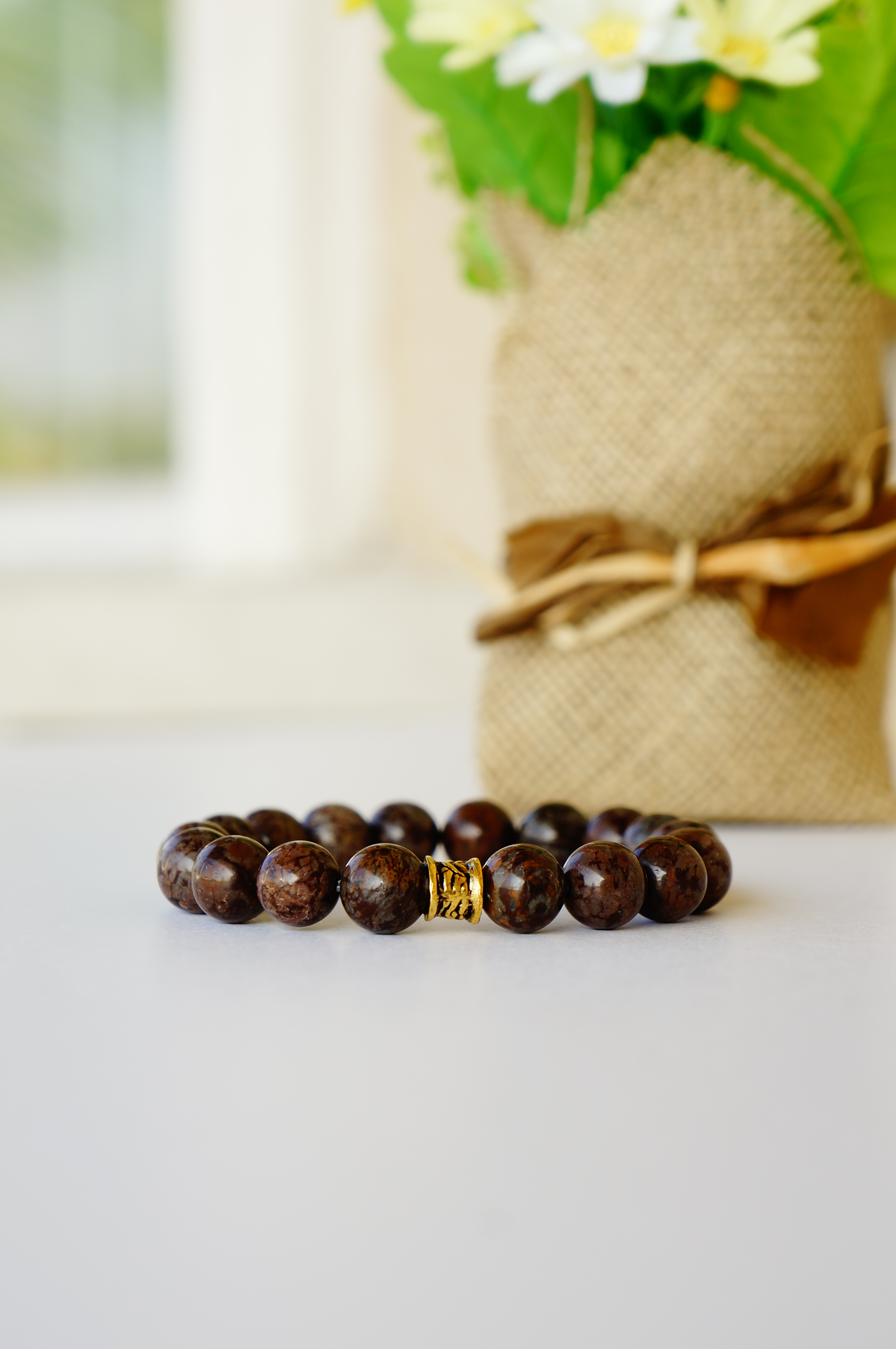 Brown Snowflake Jasper Gemstone Bracelet by Oyindoubara