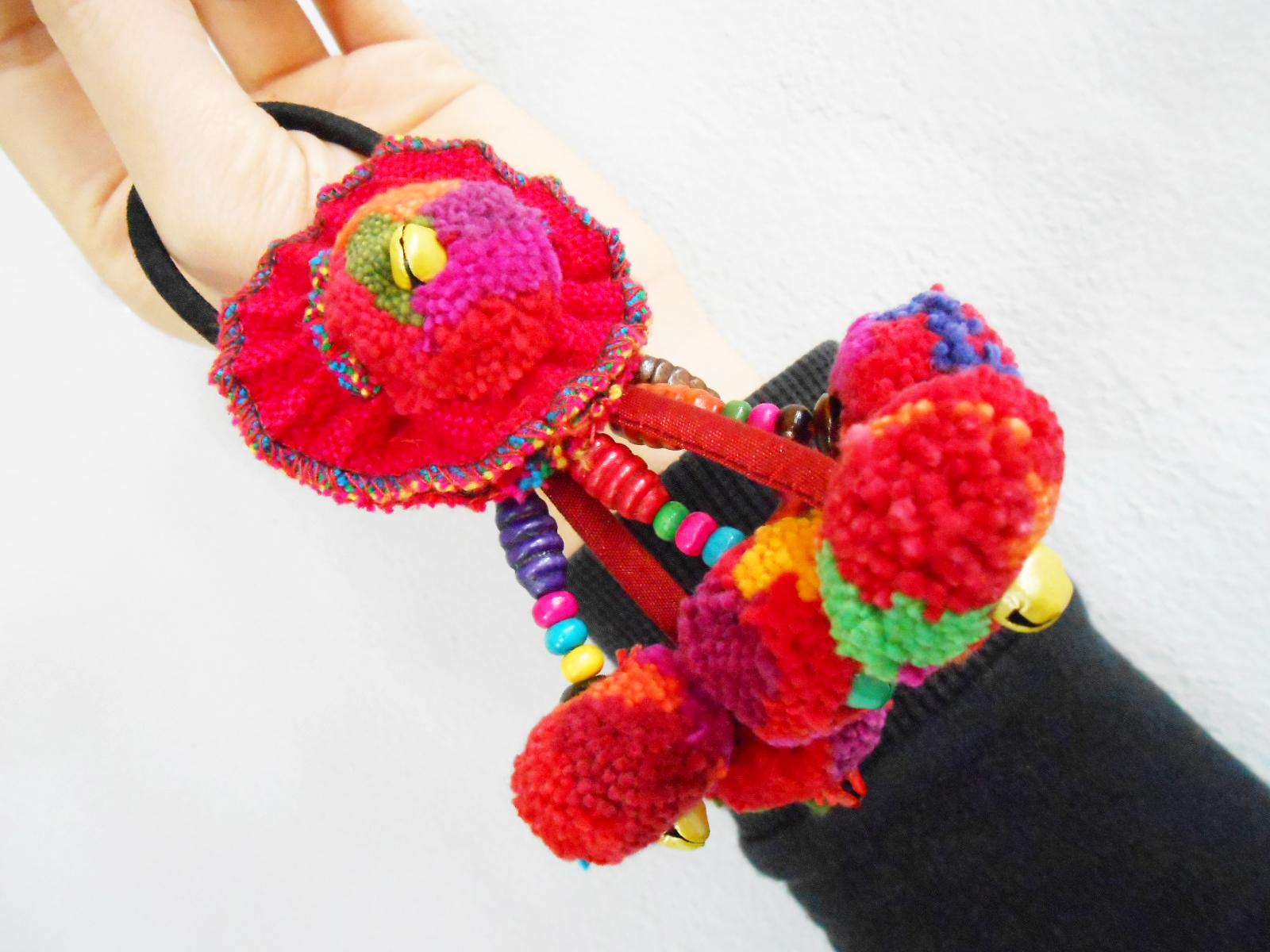 Pom Poms Elastic hair bands, Colorful Tribal hair ...