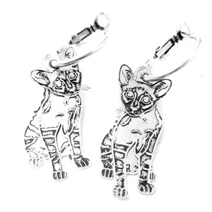 Realistic Siamese Kitty Cat Shaped Dangle Hoop Three Part Earrings in Silver