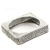 Silver Square/Circle Jeweled Bracelets