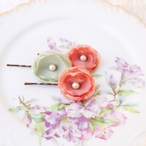 Mint and Salmon - Set of 3 Flower Bobby Pins