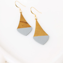 Gray Pointed Color Dipped Brass Earrings