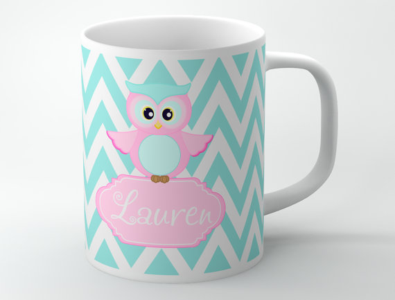 customized monogram coffee mug cute pink owl on tiffany blue