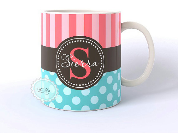 tiffany blue polka dots and coral stripes personalized coffee cup