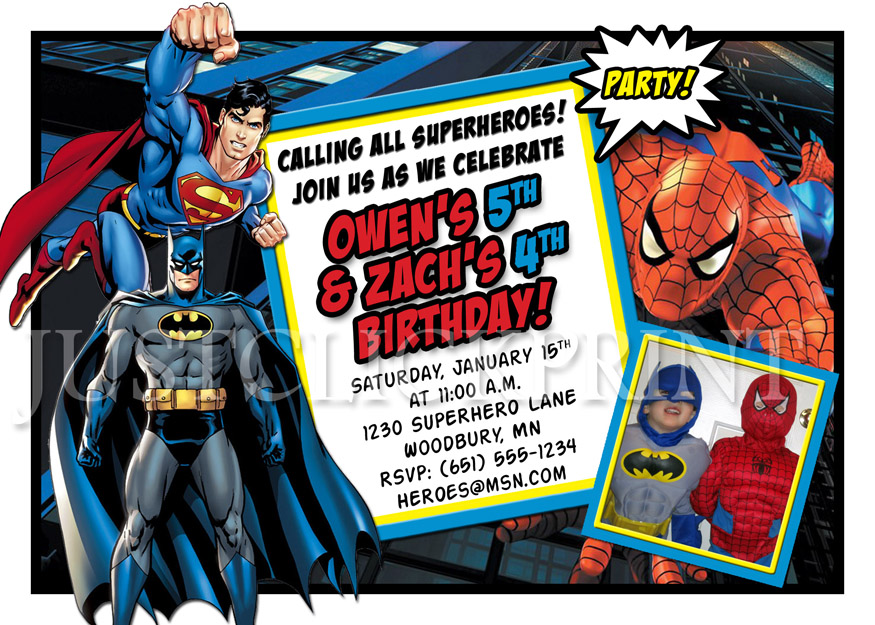 Superheroes Batman Superman Spiderman Birthday Invitation Printable