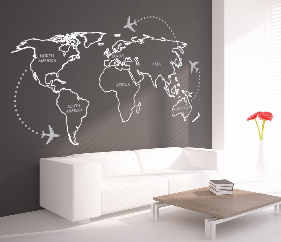world map outlines with continents decal