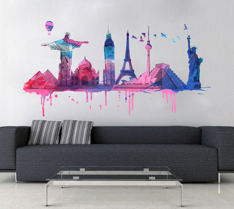 World travel watercolor decal for housewares moonwallstickers world travel watercolor decal for housewares gumiabroncs Image collections