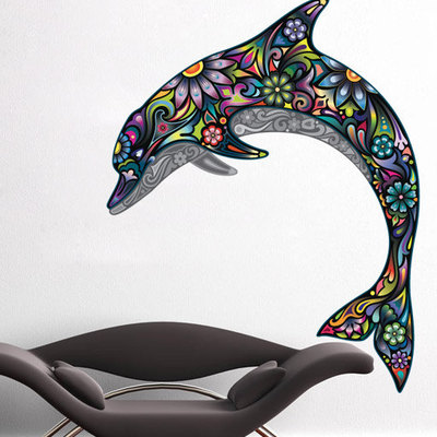 Colorful Floral Dolphin Wall Sticker Decal