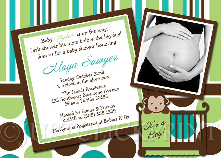 Green Teal Brown Modern Monkey Polka Dots Stripes Baby Shower