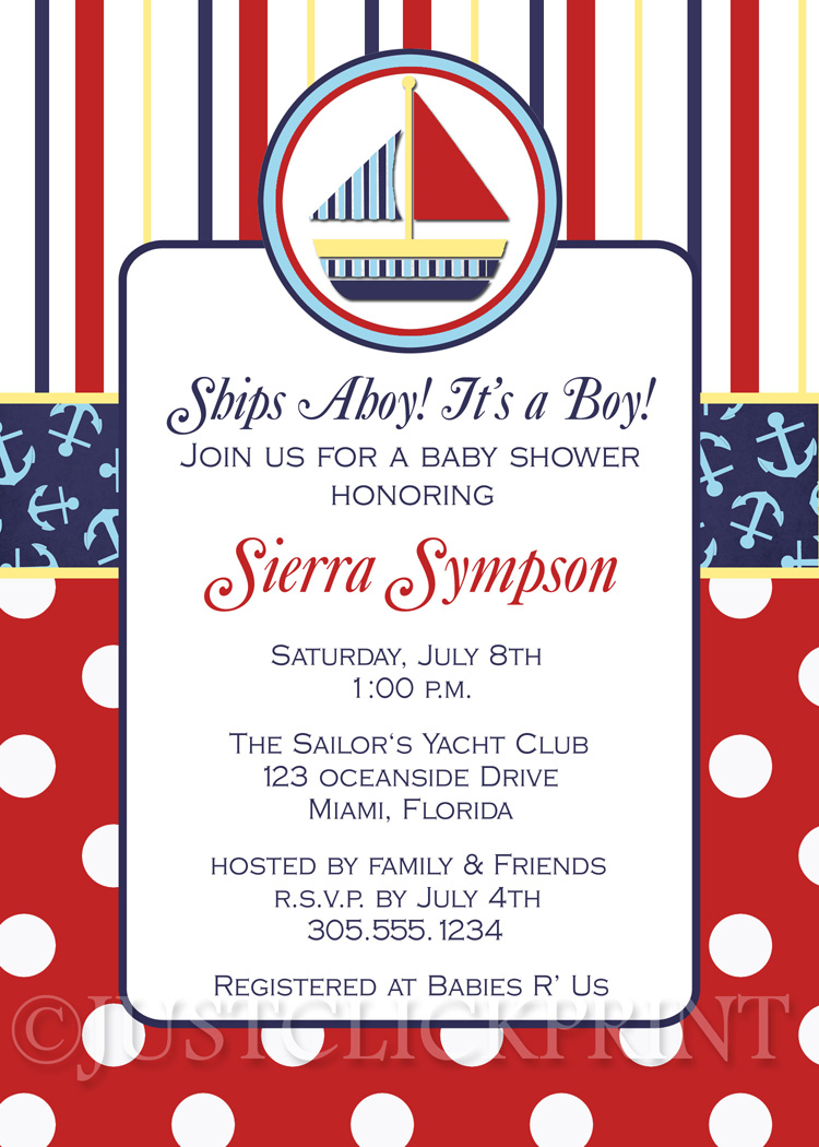 Sailboat Nautical Baby Shower Invitation Printable Just Click