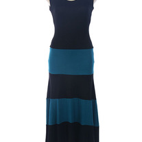 Colorblock Black & Teal Biscot Jersey Long Tank Maxi Dress Striped SML