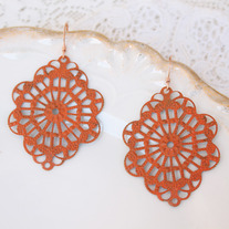 Tangerine Orange Brass Cutout Earrings