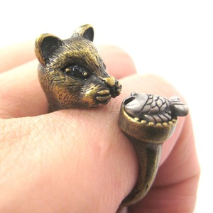 Detailed Kitty Cat and Fish Animal Ring in Bronze | US Sizes 7 to 11 Available